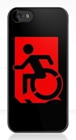 Accessible Means of Egress Icon Exit Sign Wheelchair Wheelie Running Man Symbol by Lee Wilson PWD Disability Emergency Evacuation iPhone Case 110