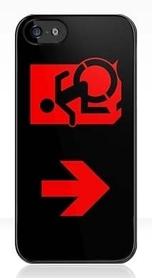 Accessible Means of Egress Icon Exit Sign Wheelchair Wheelie Running Man Symbol by Lee Wilson PWD Disability Emergency Evacuation iPhone Case 111