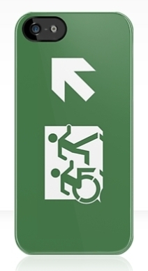 Accessible Means of Egress Icon Exit Sign Wheelchair Wheelie Running Man Symbol by Lee Wilson PWD Disability Emergency Evacuation iPhone Case 11