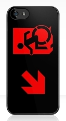 Accessible Means of Egress Icon Exit Sign Wheelchair Wheelie Running Man Symbol by Lee Wilson PWD Disability Emergency Evacuation iPhone Case 112