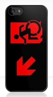 Accessible Means of Egress Icon Exit Sign Wheelchair Wheelie Running Man Symbol by Lee Wilson PWD Disability Emergency Evacuation iPhone Case 113