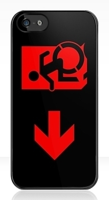 Accessible Means of Egress Icon Exit Sign Wheelchair Wheelie Running Man Symbol by Lee Wilson PWD Disability Emergency Evacuation iPhone Case 114