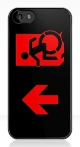 Accessible Means of Egress Icon Exit Sign Wheelchair Wheelie Running Man Symbol by Lee Wilson PWD Disability Emergency Evacuation iPhone Case 115