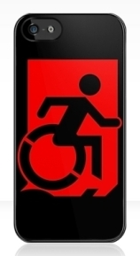 Accessible Means of Egress Icon Exit Sign Wheelchair Wheelie Running Man Symbol by Lee Wilson PWD Disability Emergency Evacuation iPhone Case 116