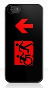 Accessible Means of Egress Icon Exit Sign Wheelchair Wheelie Running Man Symbol by Lee Wilson PWD Disability Emergency Evacuation iPhone Case 117