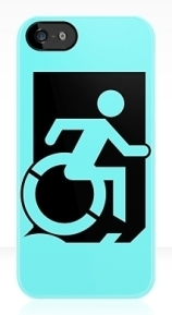 Accessible Means of Egress Icon Exit Sign Wheelchair Wheelie Running Man Symbol by Lee Wilson PWD Disability Emergency Evacuation iPhone Case 119
