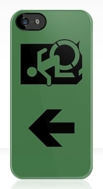 Accessible Means of Egress Icon Exit Sign Wheelchair Wheelie Running Man Symbol by Lee Wilson PWD Disability Emergency Evacuation iPhone Case 120
