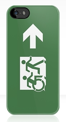 Accessible Means of Egress Icon Exit Sign Wheelchair Wheelie Running Man Symbol by Lee Wilson PWD Disability Emergency Evacuation iPhone Case 12