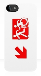 Accessible Means of Egress Icon Exit Sign Wheelchair Wheelie Running Man Symbol by Lee Wilson PWD Disability Emergency Evacuation iPhone Case 121