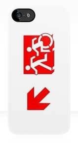 Accessible Means of Egress Icon Exit Sign Wheelchair Wheelie Running Man Symbol by Lee Wilson PWD Disability Emergency Evacuation iPhone Case 122