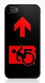 Accessible Means of Egress Icon Exit Sign Wheelchair Wheelie Running Man Symbol by Lee Wilson PWD Disability Emergency Evacuation iPhone Case 123