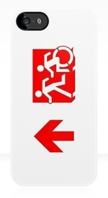 Accessible Means of Egress Icon Exit Sign Wheelchair Wheelie Running Man Symbol by Lee Wilson PWD Disability Emergency Evacuation iPhone Case 124