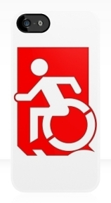 Accessible Means of Egress Icon Exit Sign Wheelchair Wheelie Running Man Symbol by Lee Wilson PWD Disability Emergency Evacuation iPhone Case 125