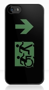 Accessible Means of Egress Icon Exit Sign Wheelchair Wheelie Running Man Symbol by Lee Wilson PWD Disability Emergency Evacuation iPhone Case 126
