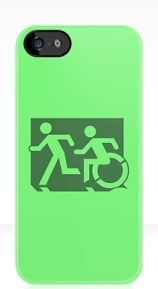 Accessible Means of Egress Icon Exit Sign Wheelchair Wheelie Running Man Symbol by Lee Wilson PWD Disability Emergency Evacuation iPhone Case 127