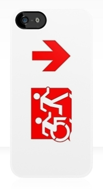 Accessible Means of Egress Icon Exit Sign Wheelchair Wheelie Running Man Symbol by Lee Wilson PWD Disability Emergency Evacuation iPhone Case 128