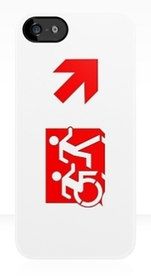 Accessible Means of Egress Icon Exit Sign Wheelchair Wheelie Running Man Symbol by Lee Wilson PWD Disability Emergency Evacuation iPhone Case 129