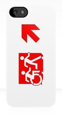 Accessible Means of Egress Icon Exit Sign Wheelchair Wheelie Running Man Symbol by Lee Wilson PWD Disability Emergency Evacuation iPhone Case 130