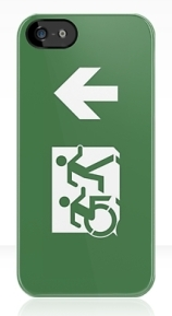 Accessible Means of Egress Icon Exit Sign Wheelchair Wheelie Running Man Symbol by Lee Wilson PWD Disability Emergency Evacuation iPhone Case 13