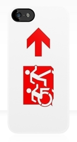 Accessible Means of Egress Icon Exit Sign Wheelchair Wheelie Running Man Symbol by Lee Wilson PWD Disability Emergency Evacuation iPhone Case 131