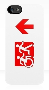 Accessible Means of Egress Icon Exit Sign Wheelchair Wheelie Running Man Symbol by Lee Wilson PWD Disability Emergency Evacuation iPhone Case 132