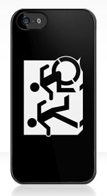 Accessible Means of Egress Icon Exit Sign Wheelchair Wheelie Running Man Symbol by Lee Wilson PWD Disability Emergency Evacuation iPhone Case 133