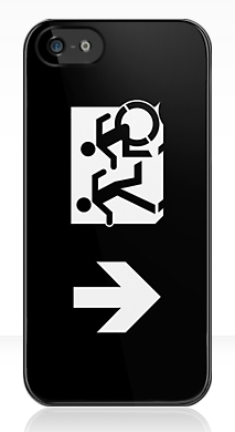 Accessible Means of Egress Icon Exit Sign Wheelchair Wheelie Running Man Symbol by Lee Wilson PWD Disability Emergency Evacuation iPhone Case 134
