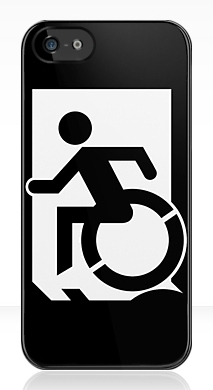 Accessible Means of Egress Icon Exit Sign Wheelchair Wheelie Running Man Symbol by Lee Wilson PWD Disability Emergency Evacuation iPhone Case 135