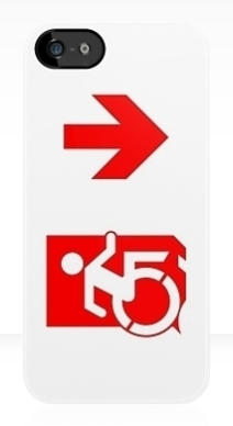 Accessible Means of Egress Icon Exit Sign Wheelchair Wheelie Running Man Symbol by Lee Wilson PWD Disability Emergency Evacuation iPhone Case 136