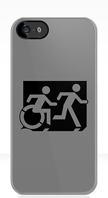 Accessible Means of Egress Icon Exit Sign Wheelchair Wheelie Running Man Symbol by Lee Wilson PWD Disability Emergency Evacuation iPhone Case 137
