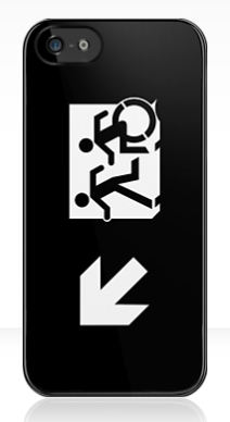 Accessible Means of Egress Icon Exit Sign Wheelchair Wheelie Running Man Symbol by Lee Wilson PWD Disability Emergency Evacuation iPhone Case 138