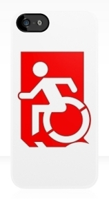 Accessible Means of Egress Icon Exit Sign Wheelchair Wheelie Running Man Symbol by Lee Wilson PWD Disability Emergency Evacuation iPhone Case 139