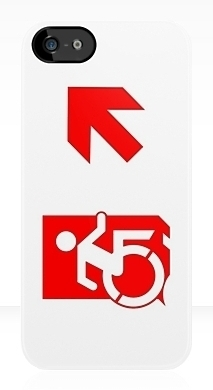 Accessible Means of Egress Icon Exit Sign Wheelchair Wheelie Running Man Symbol by Lee Wilson PWD Disability Emergency Evacuation iPhone Case 140