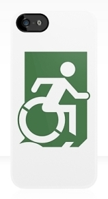 Accessible Means of Egress Icon Exit Sign Wheelchair Wheelie Running Man Symbol by Lee Wilson PWD Disability Emergency Evacuation iPhone Case 141