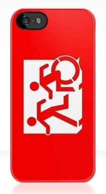 Accessible Means of Egress Icon Exit Sign Wheelchair Wheelie Running Man Symbol by Lee Wilson PWD Disability Emergency Evacuation iPhone Case 14