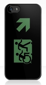 Accessible Means of Egress Icon Exit Sign Wheelchair Wheelie Running Man Symbol by Lee Wilson PWD Disability Emergency Evacuation iPhone Case 142