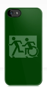 Accessible Means of Egress Icon Exit Sign Wheelchair Wheelie Running Man Symbol by Lee Wilson PWD Disability Emergency Evacuation iPhone Case 143