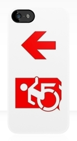 Accessible Means of Egress Icon Exit Sign Wheelchair Wheelie Running Man Symbol by Lee Wilson PWD Disability Emergency Evacuation iPhone Case 144