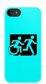 Accessible Means of Egress Icon Exit Sign Wheelchair Wheelie Running Man Symbol by Lee Wilson PWD Disability Emergency Evacuation iPhone Case 145