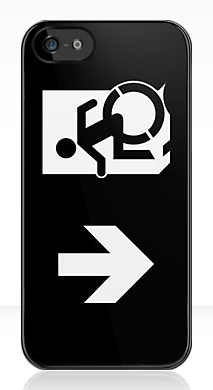Accessible Means of Egress Icon Exit Sign Wheelchair Wheelie Running Man Symbol by Lee Wilson PWD Disability Emergency Evacuation iPhone Case 146