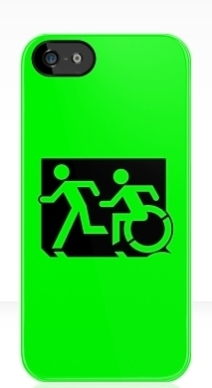 Accessible Means of Egress Icon Exit Sign Wheelchair Wheelie Running Man Symbol by Lee Wilson PWD Disability Emergency Evacuation iPhone Case 147