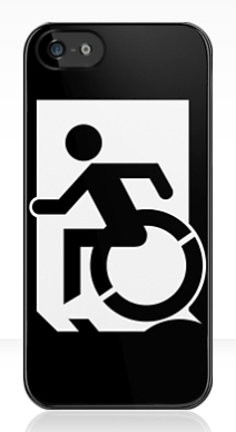 Accessible Means of Egress Icon Exit Sign Wheelchair Wheelie Running Man Symbol by Lee Wilson PWD Disability Emergency Evacuation iPhone Case 148
