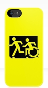 Accessible Means of Egress Icon Exit Sign Wheelchair Wheelie Running Man Symbol by Lee Wilson PWD Disability Emergency Evacuation iPhone Case 149