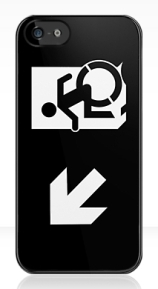 Accessible Means of Egress Icon Exit Sign Wheelchair Wheelie Running Man Symbol by Lee Wilson PWD Disability Emergency Evacuation iPhone Case 150