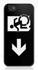 Accessible Means of Egress Icon Exit Sign Wheelchair Wheelie Running Man Symbol by Lee Wilson PWD Disability Emergency Evacuation iPhone Case 151