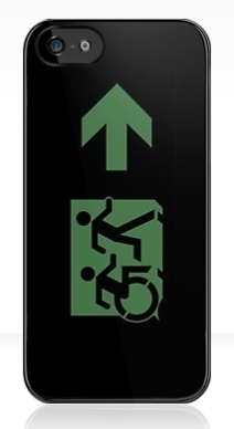 Accessible Means of Egress Icon Exit Sign Wheelchair Wheelie Running Man Symbol by Lee Wilson PWD Disability Emergency Evacuation iPhone Case 15