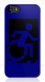 Accessible Means of Egress Icon Exit Sign Wheelchair Wheelie Running Man Symbol by Lee Wilson PWD Disability Emergency Evacuation iPhone Case 152