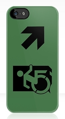 Accessible Means of Egress Icon Exit Sign Wheelchair Wheelie Running Man Symbol by Lee Wilson PWD Disability Emergency Evacuation iPhone Case 153
