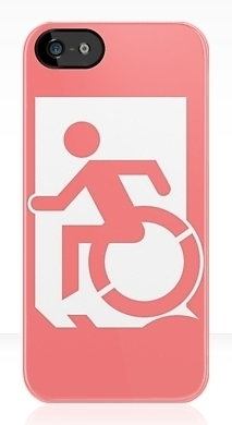 Accessible Means of Egress Icon Exit Sign Wheelchair Wheelie Running Man Symbol by Lee Wilson PWD Disability Emergency Evacuation iPhone Case 154