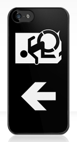 Accessible Means of Egress Icon Exit Sign Wheelchair Wheelie Running Man Symbol by Lee Wilson PWD Disability Emergency Evacuation iPhone Case 155